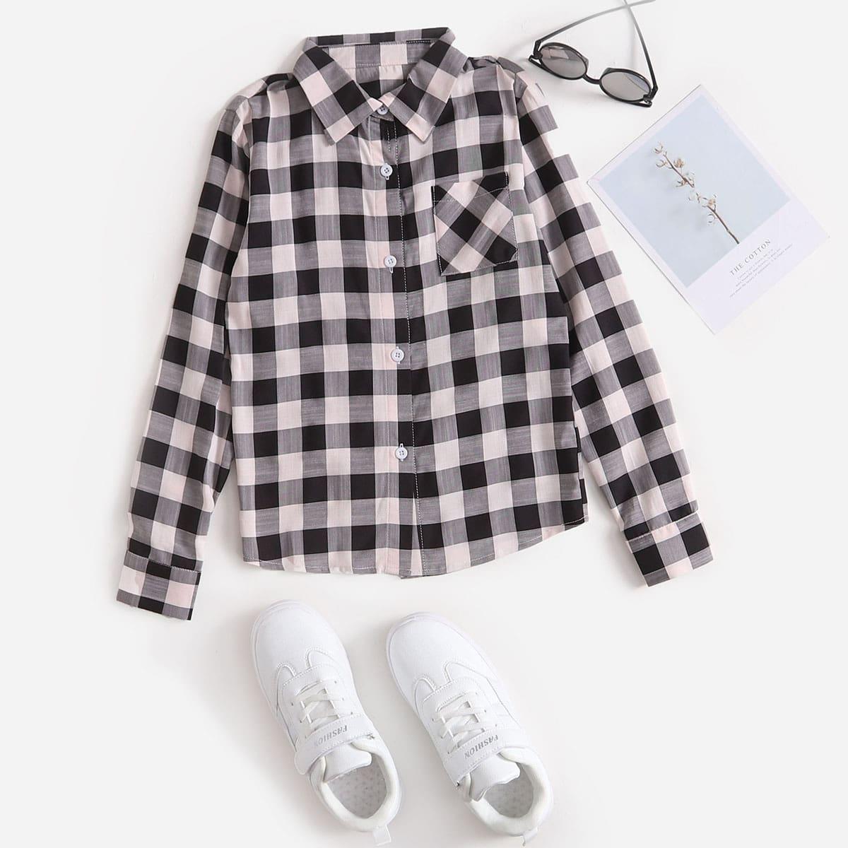для мальчиков Рубашка принтом с краманом на пуговицах
