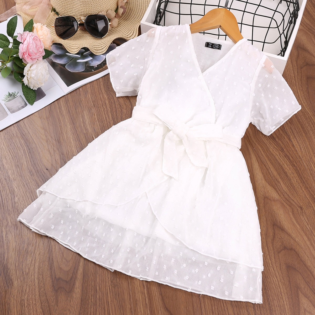 Girls Swiss Dot Surplice Front Dress