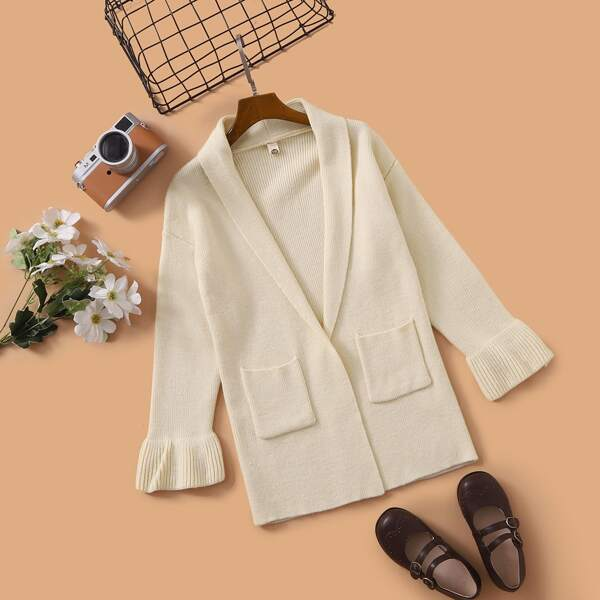Girls Shawl Collar Pocket Patched Flounce Sleeve Cardigan, Apricot