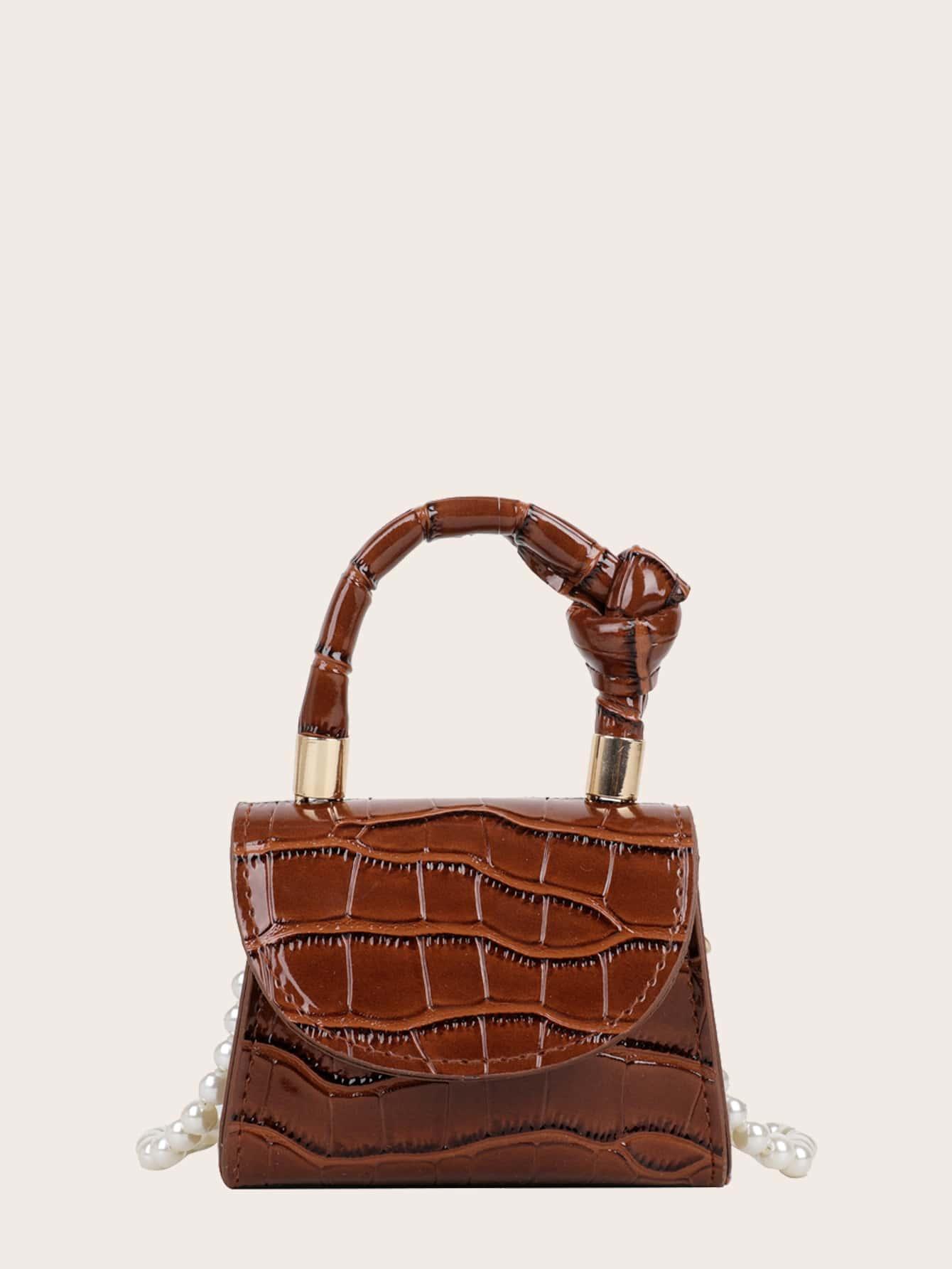 Girls Croc Embossed Satchel Bag