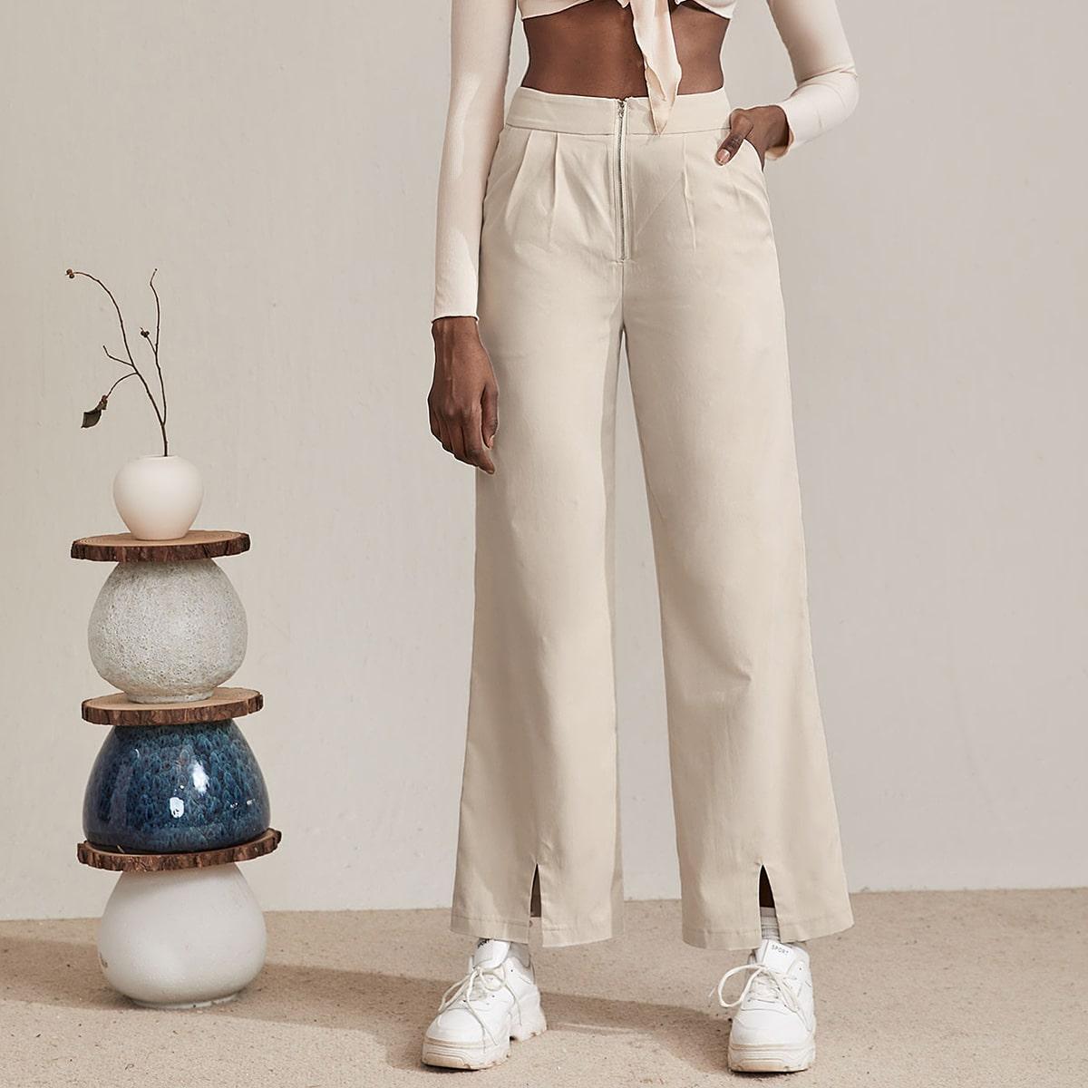 Solid Zip Front Split Hem Pants, SHEIN  - buy with discount