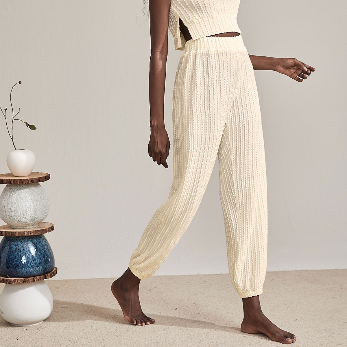 Solid Textured Pants, SHEIN  - buy with discount
