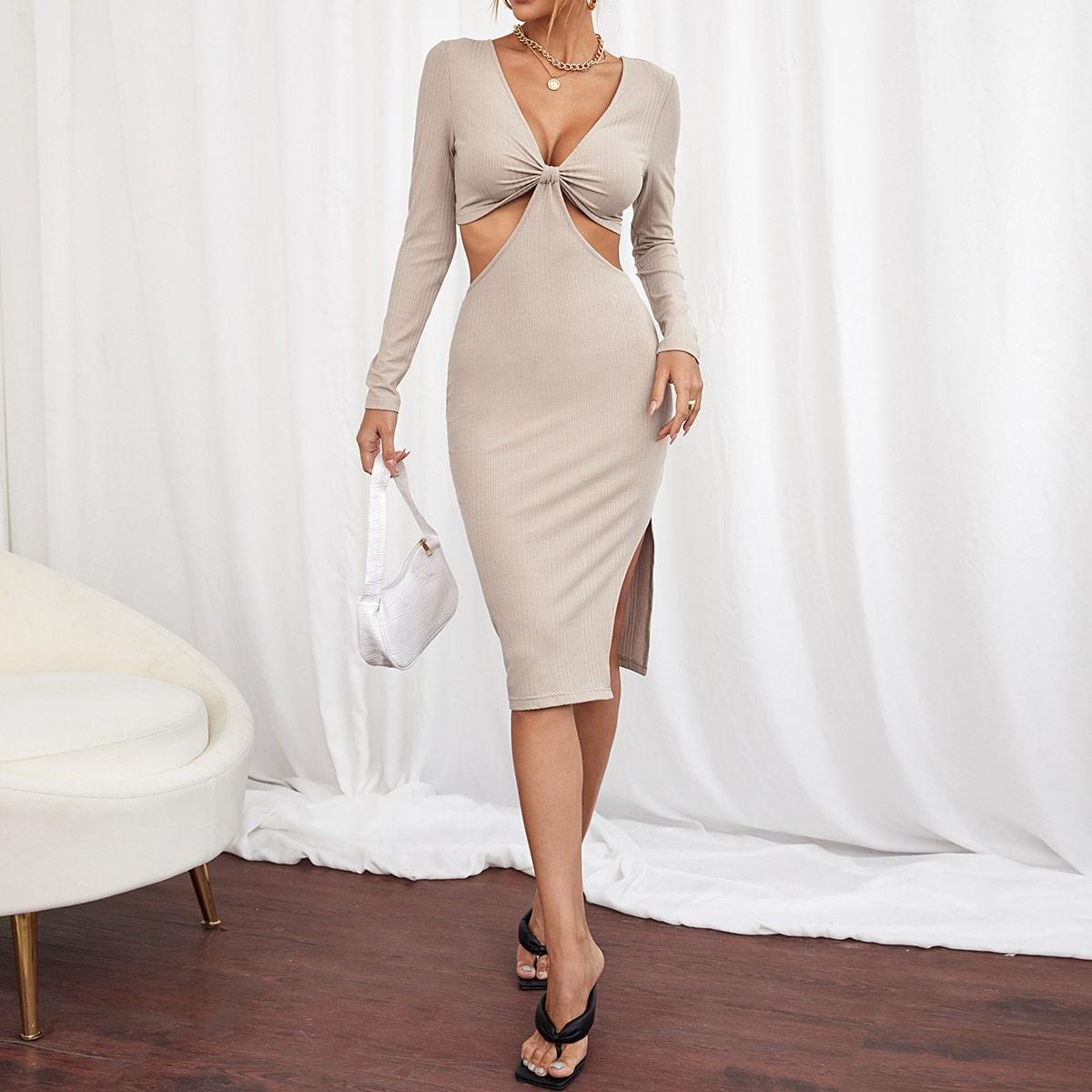 Платье узлом с разрезом с разрезом SheIn sW210608315364733
