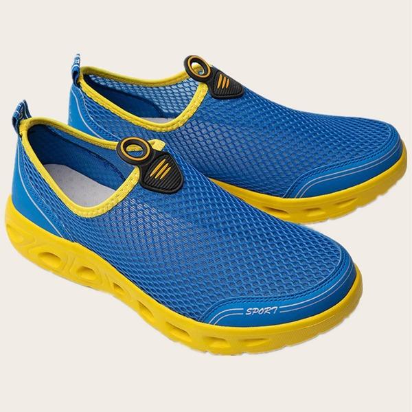 Men Contrast Trim Slip On Sneakers, Blue