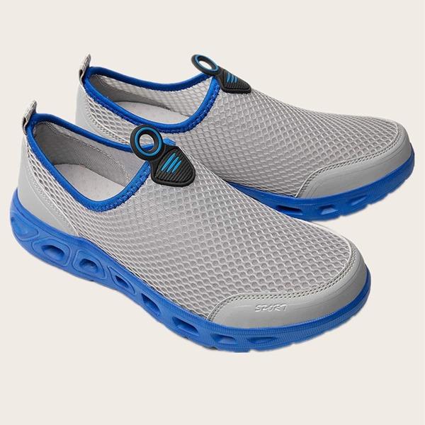 Men Contrast Trim Slip On Sneakers, Grey