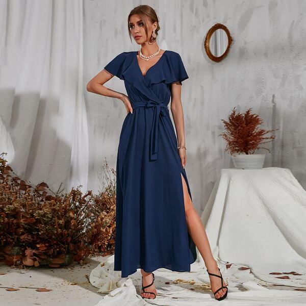 Solid Ruffle Trim Wrap V Neck Belted Split Thigh Dress, Navy blue
