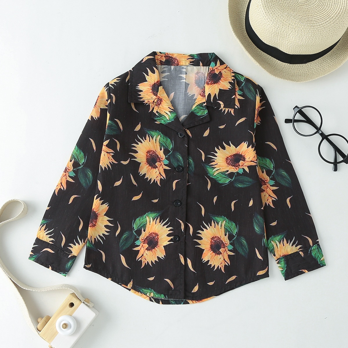 Toddler Girls Sunflower Print Button Front Blouse, SHEIN  - buy with discount