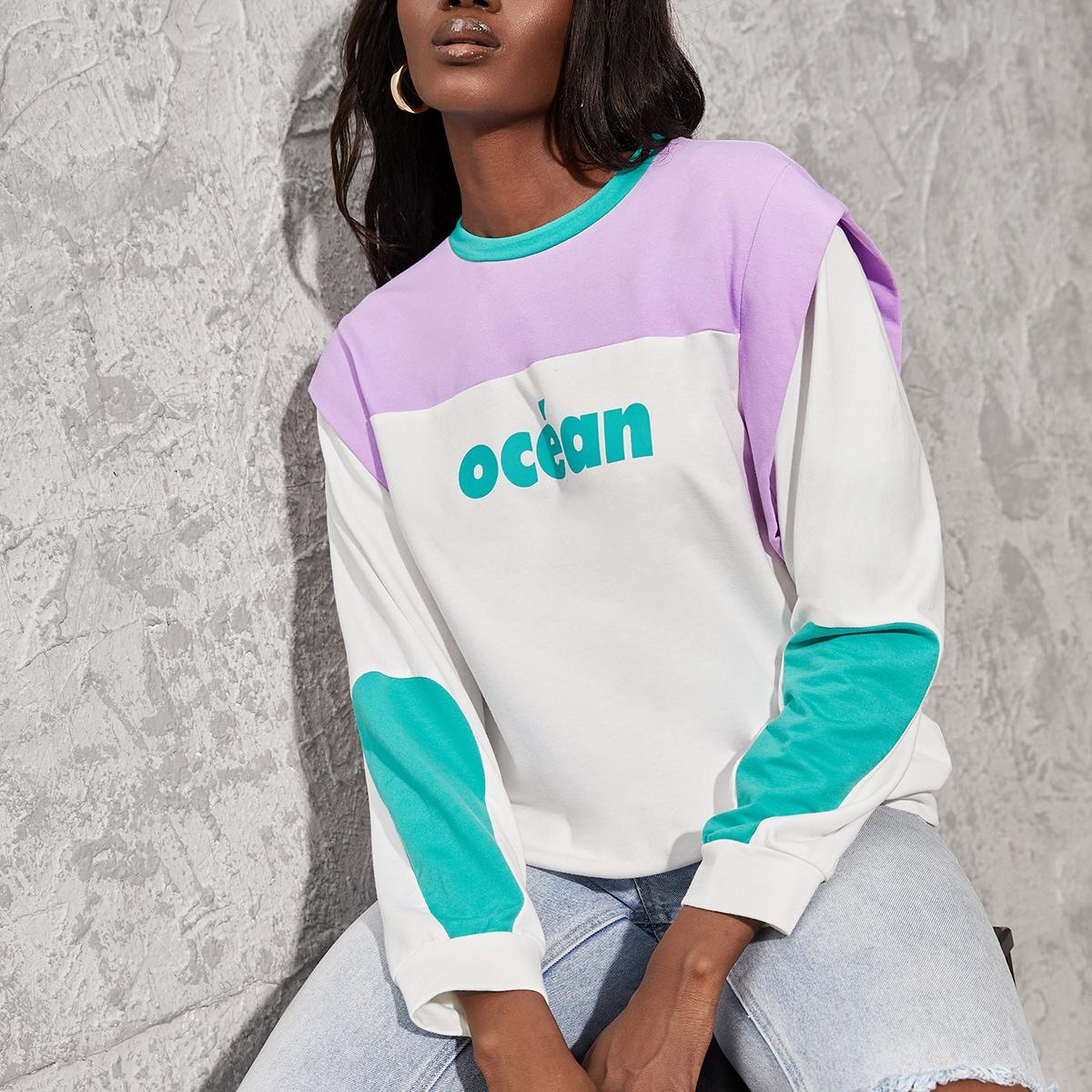 Letter Graphic Color Block Sweatshirt