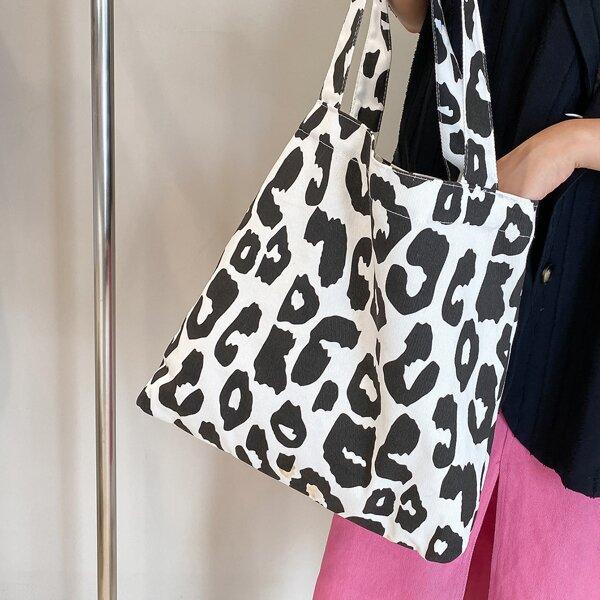 Leopard Pattern Shopper Bag, Black and white