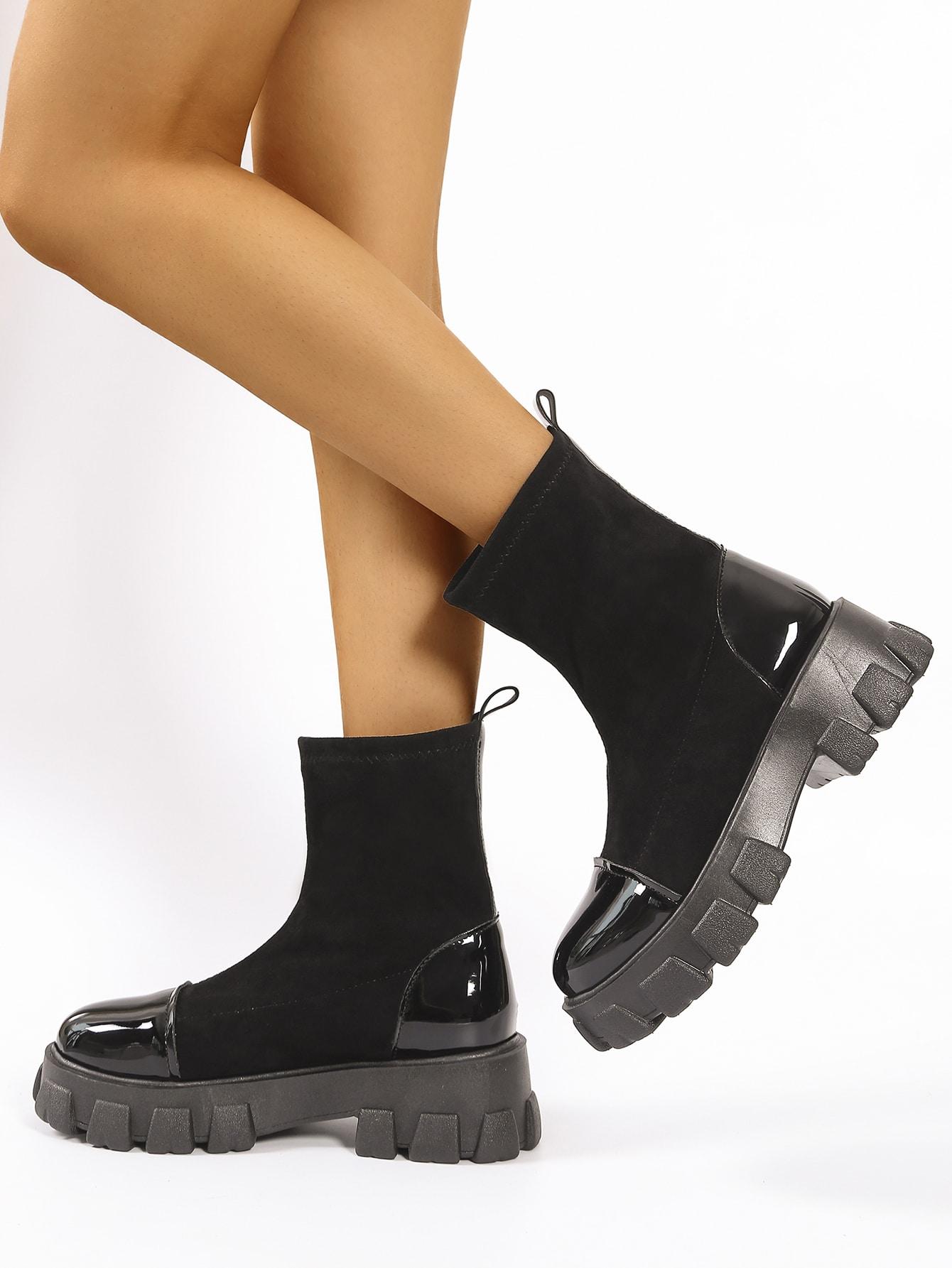 Velvet Two Tone Sock Boots