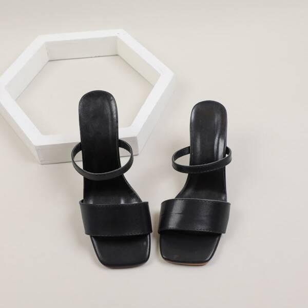 Minimalist Chunky Sandal Mules, Black