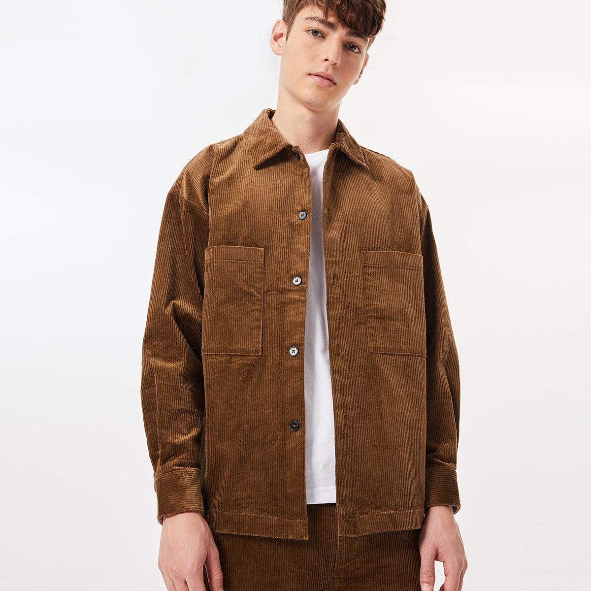 Мужская вельветовая рубашка с карманом SheIn sm2107023222344266