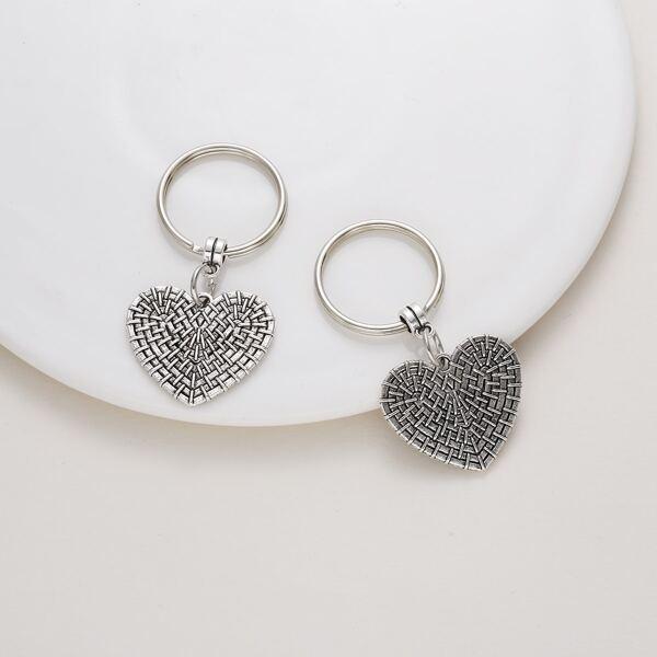 2pcs Heart Charm Keychain, Antique silver