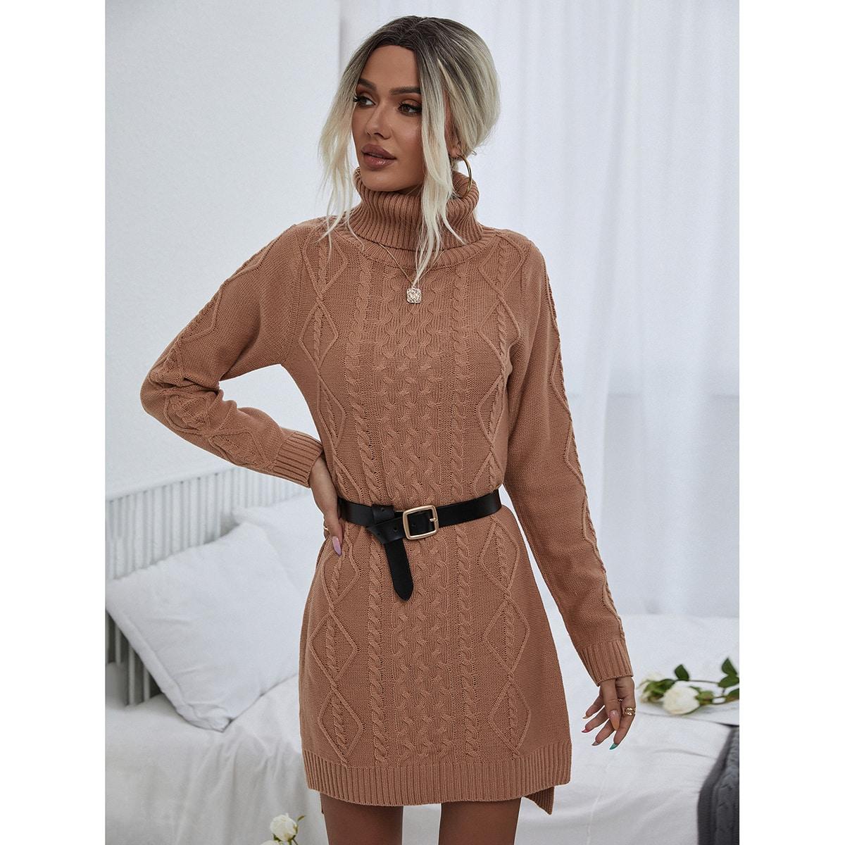 Платье с высоким воротником вязаный асимметричный вязаный без пояса SheIn swdress23210616201
