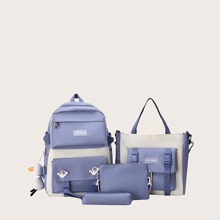 4pcs Cartoon Decor Two Tone Backpack Set