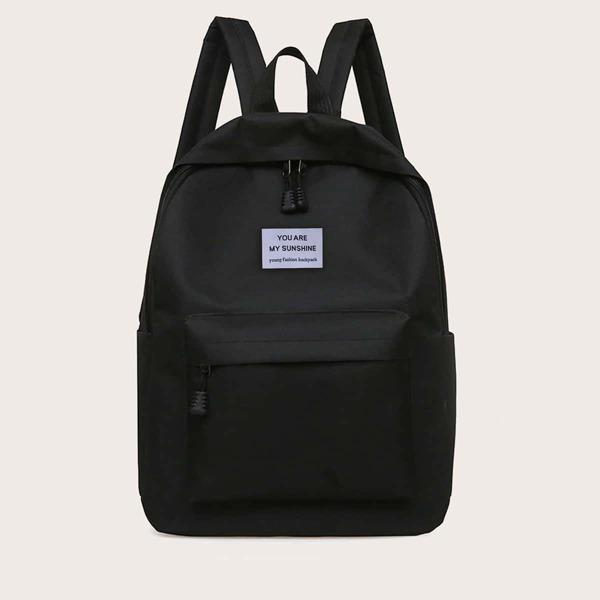 Minimalist Pocket Front Letter Patch Backpack, Black