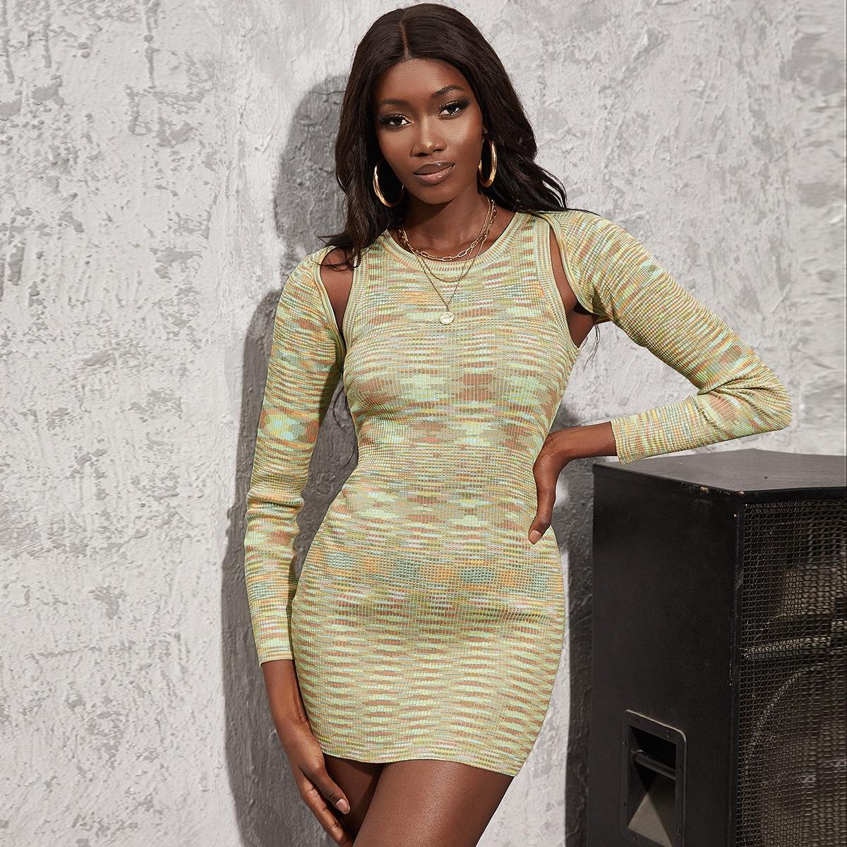 Облегающее платье-свитер с болеро