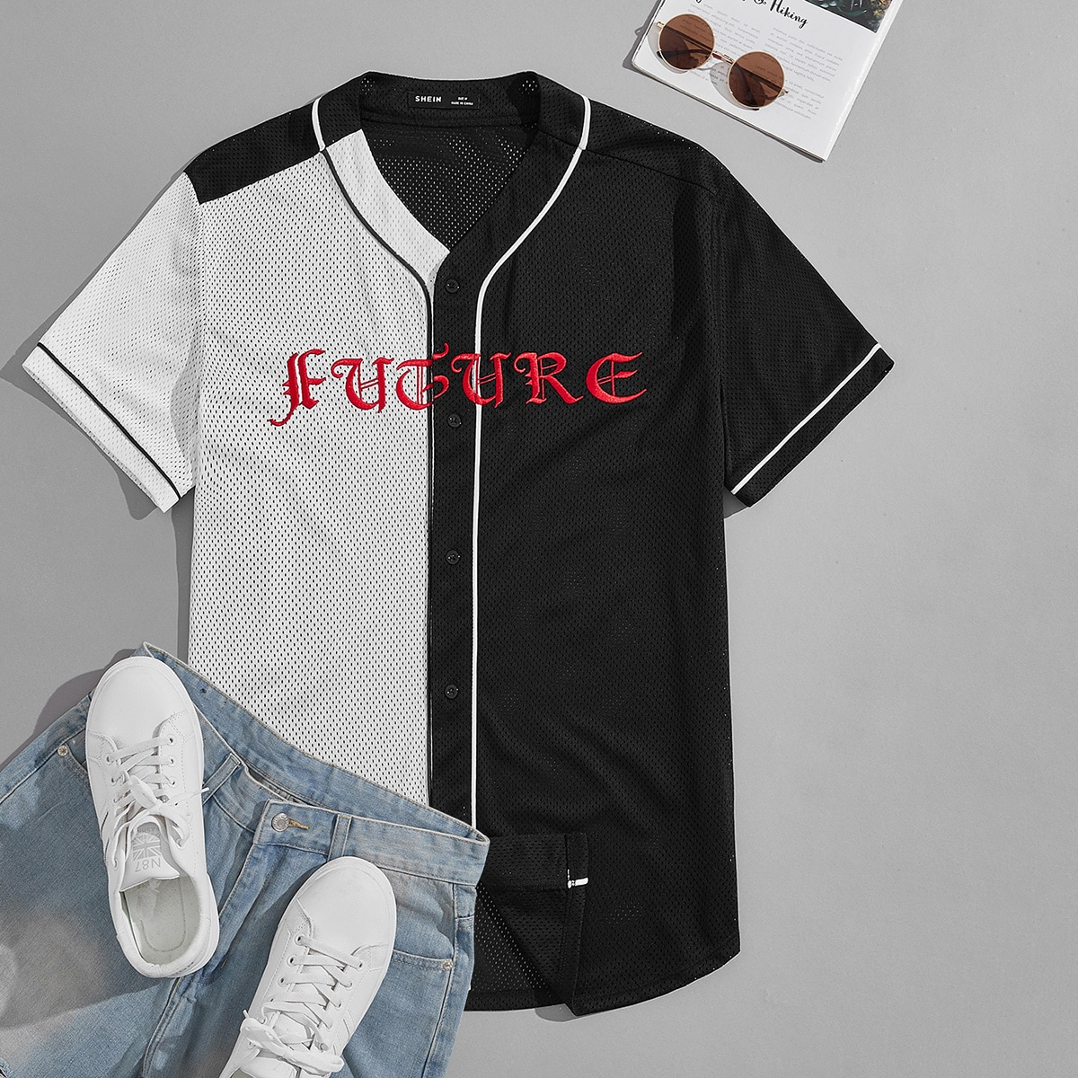 Мужской Рубашка с текстовой вышивкой двухцветный