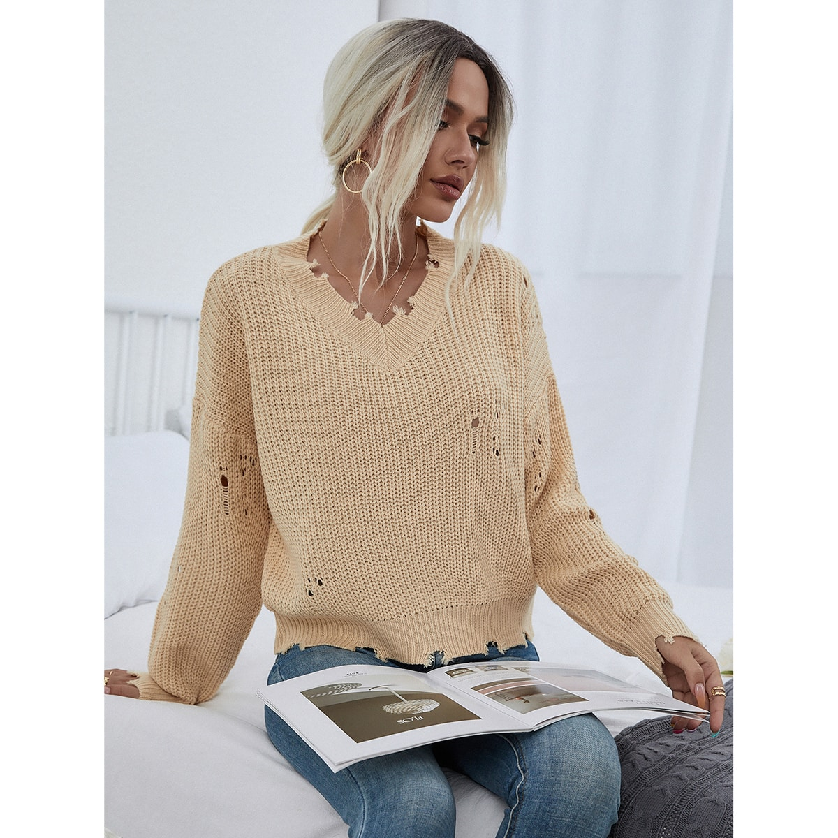 Frayed Trim Ripped Detail Drop Shoulder Sweater, SHEIN  - buy with discount
