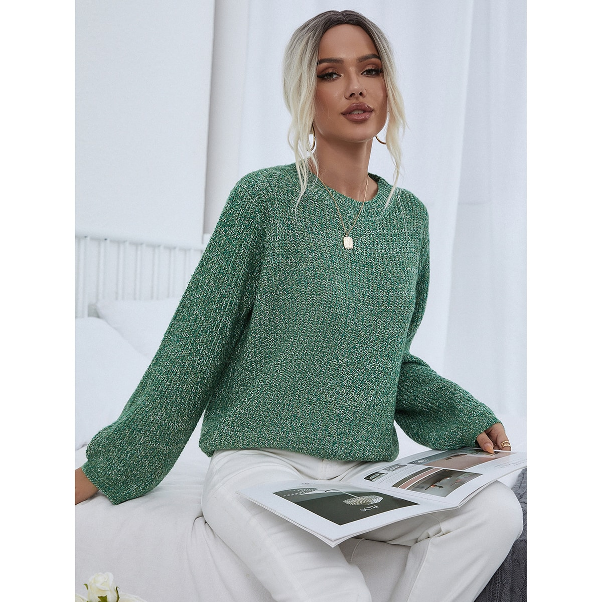 Marled Knit Bishop Sleeve Sweater, SHEIN  - buy with discount