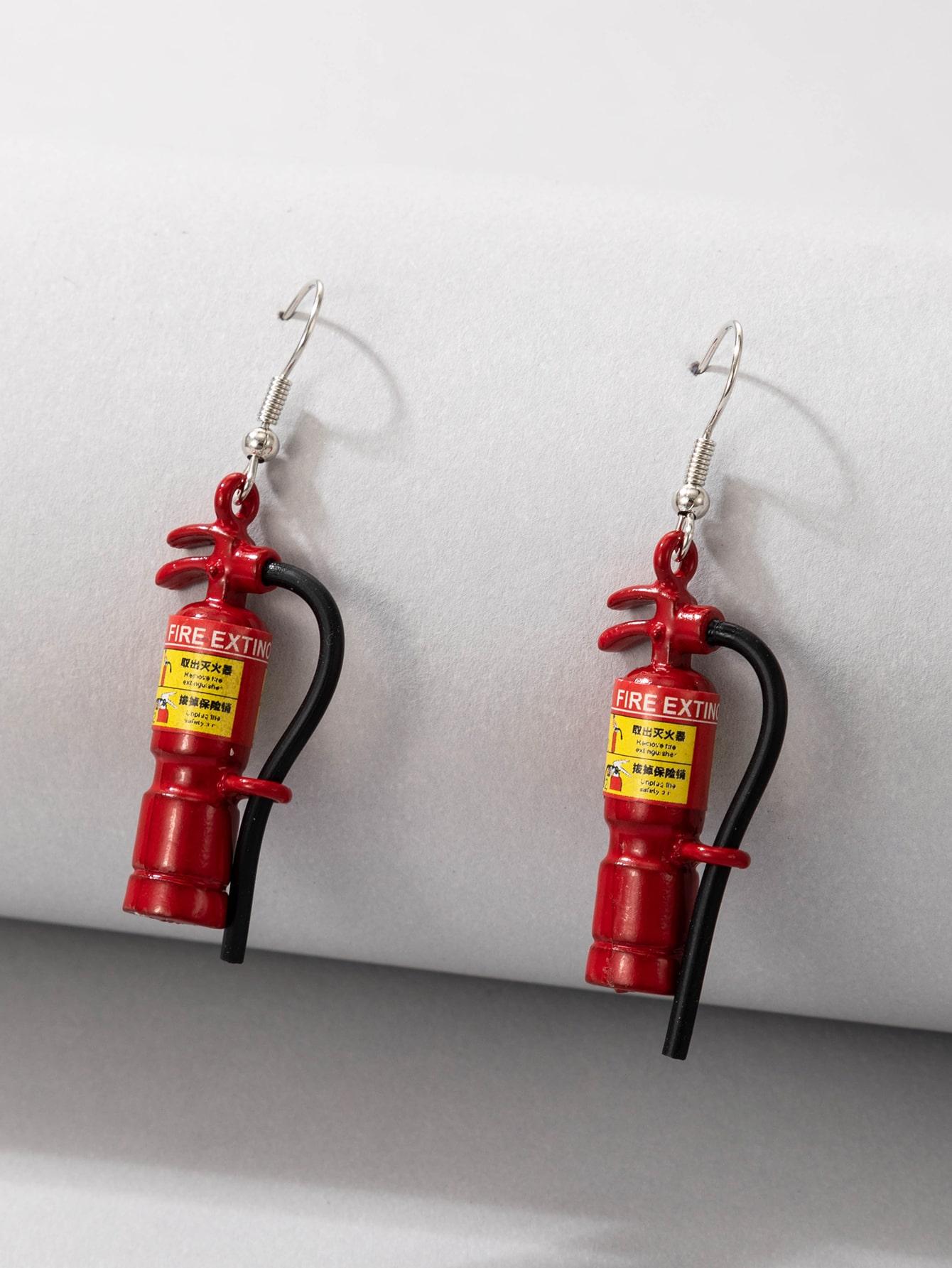 Fire Extinguisher Design Drop Earrings