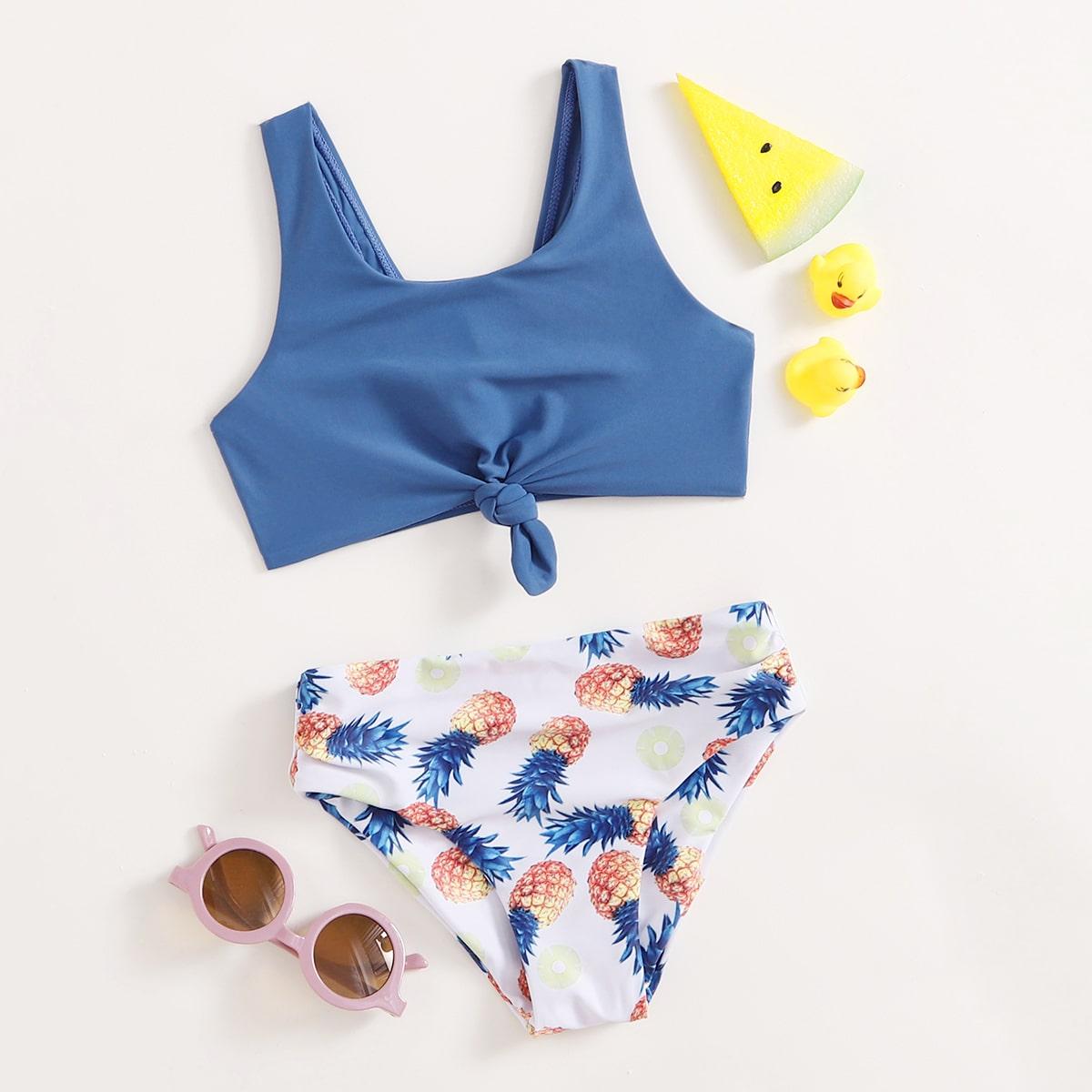 Girls Pineapple Print Knot Front Bikini Swimsuit