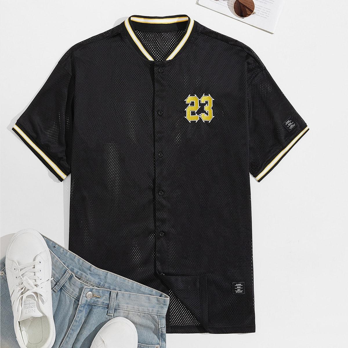 Мужская сетчатая рубашка с принтом цифр