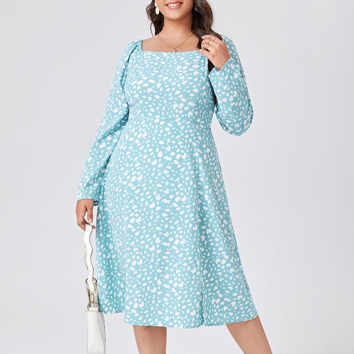 Plus Dalmatian Print Split Thigh Dress