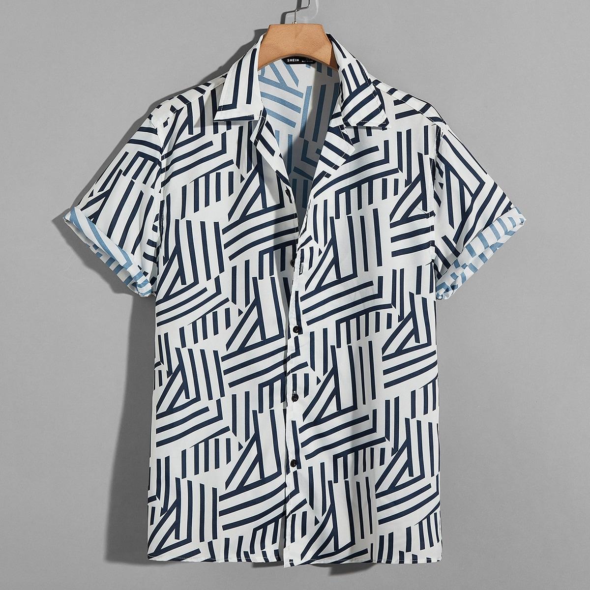 Мужской Рубашка случайный в полоску SheIn smshirt07210508578