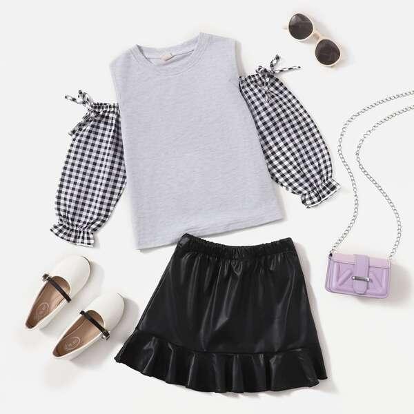 Toddler Girls Gingham Cold Shoulder Tie Side Top & Ruffle Hem Skirt, Multicolor