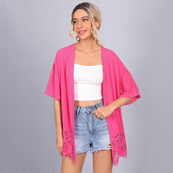 Drop Shoulder Laser Cut Hem Kimono, Hot pink