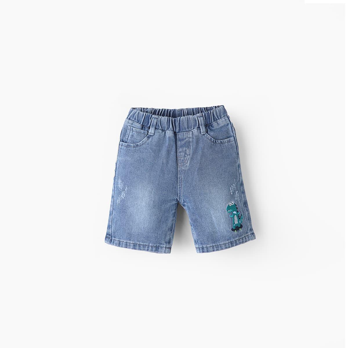 для мальчиков Джинсовые шорты с мультипликационной вышивкой от SHEIN