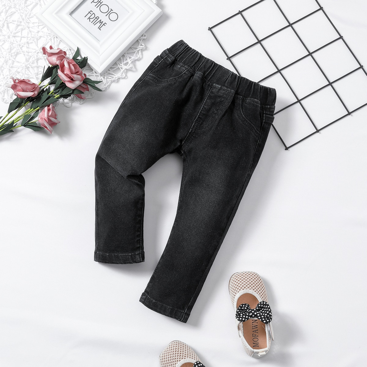 Детский Прямые джинсы с эластичной талией от SHEIN