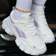 Colorblock Pattern Breathable Lace-up Front Chunky Sneakers