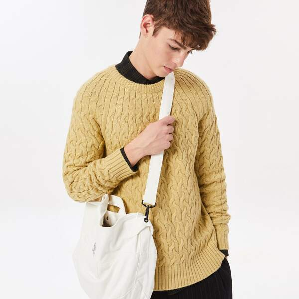 Men Raglan Sleeve Cricket Sweater, Camel