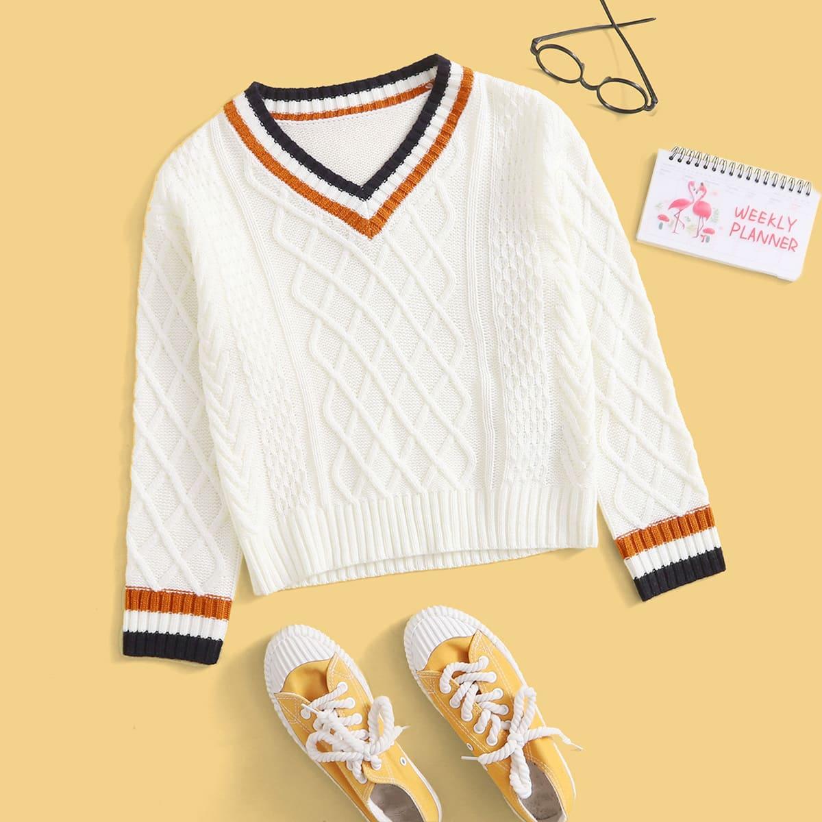 для мальчиков Вязаный свитер с контрастной отделкой принтом аргайл
