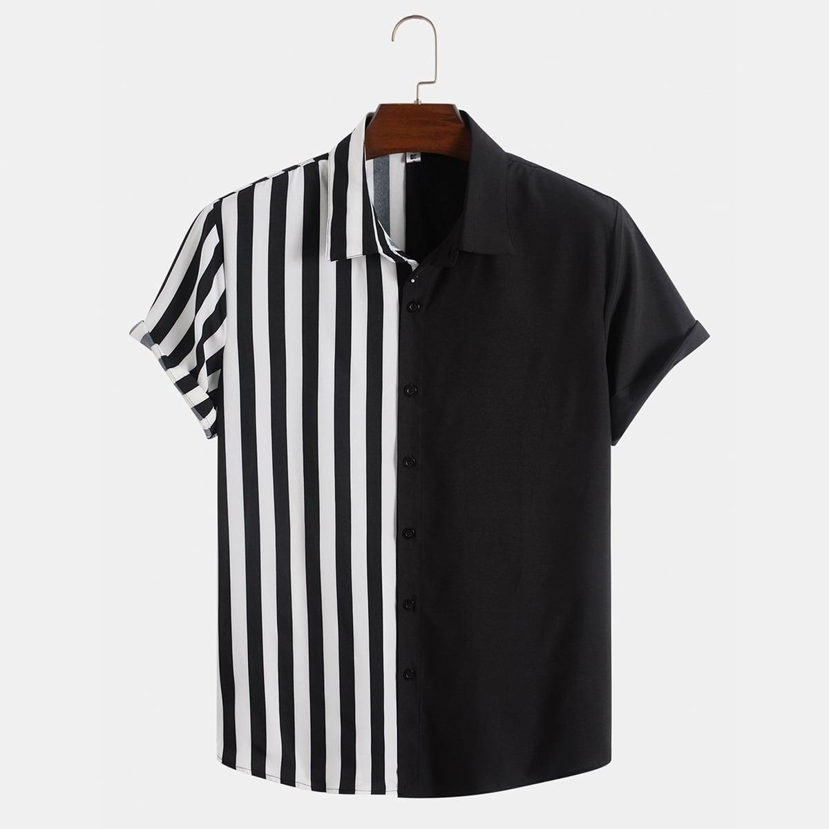 Мужская рубашка в полоску SheIn sm2106237222113133