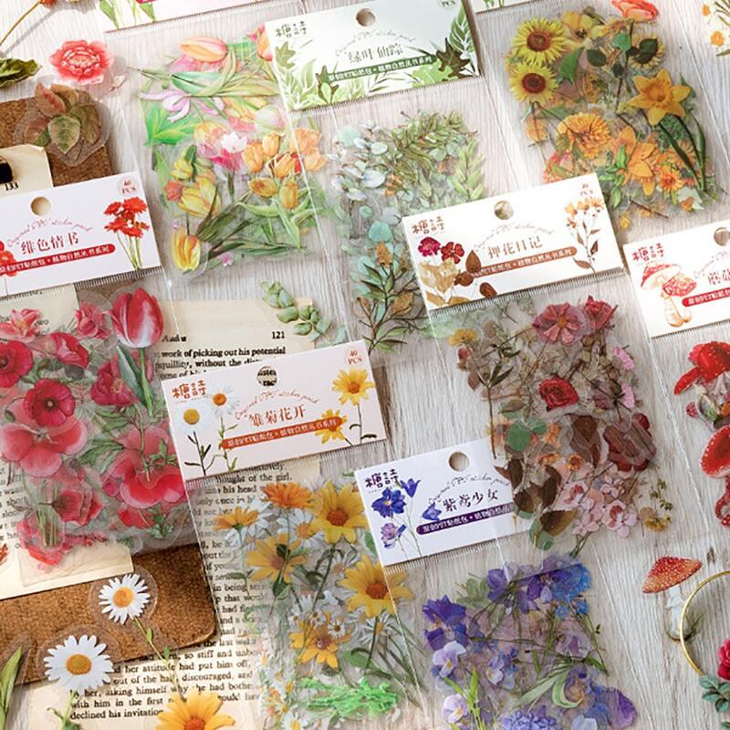 40pcs Flower Print Sticker, Multicolor