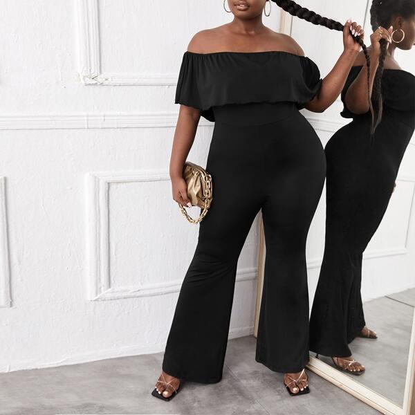 Plus Off Shoulder Flare Leg Jumpsuit, Black