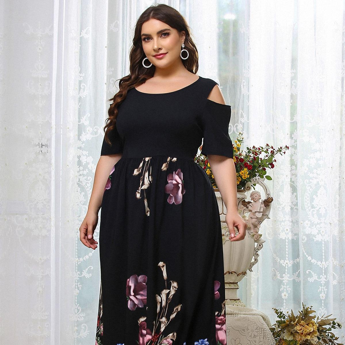 Plus Cold Shoulder Floral Belted Dress