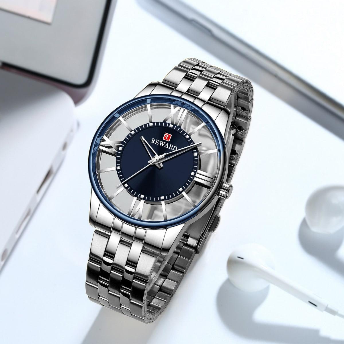 Men Round Pointer Skeleton Quartz Watch, SHEIN  - buy with discount