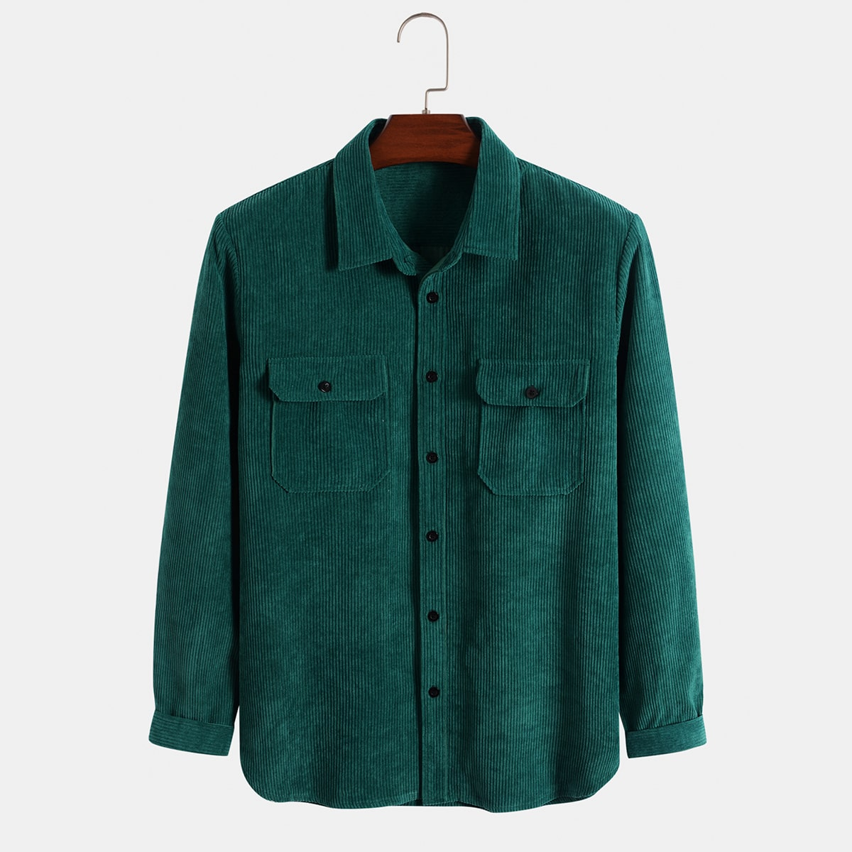 Мужская вельветовая рубашка с карманом на пуговицах SheIn sM210610523394229