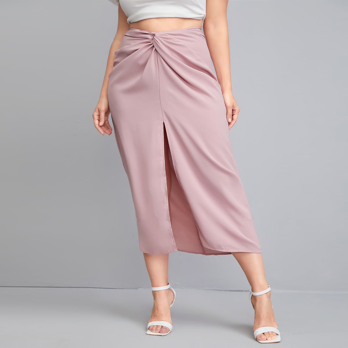 Plus Twist Front Split Thigh Skirt, SHEIN  - buy with discount