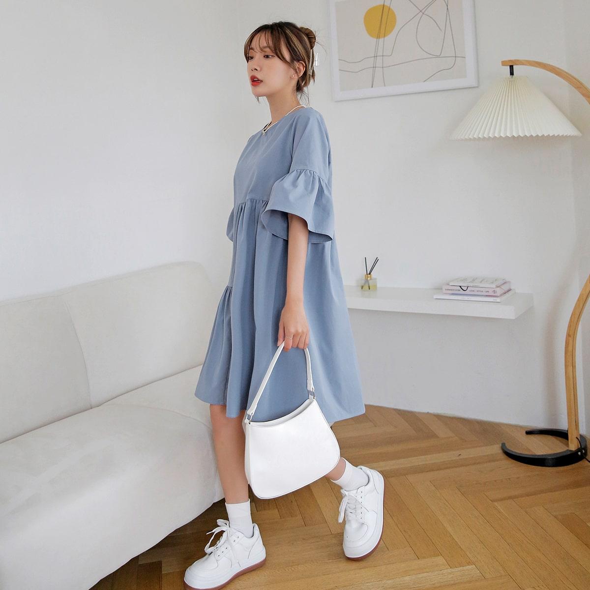 Платье с рукавами-воланами SheIn swdress30210608060