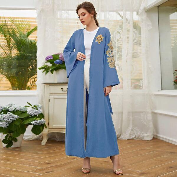 Floral Applique Belted Abaya, Baby blue