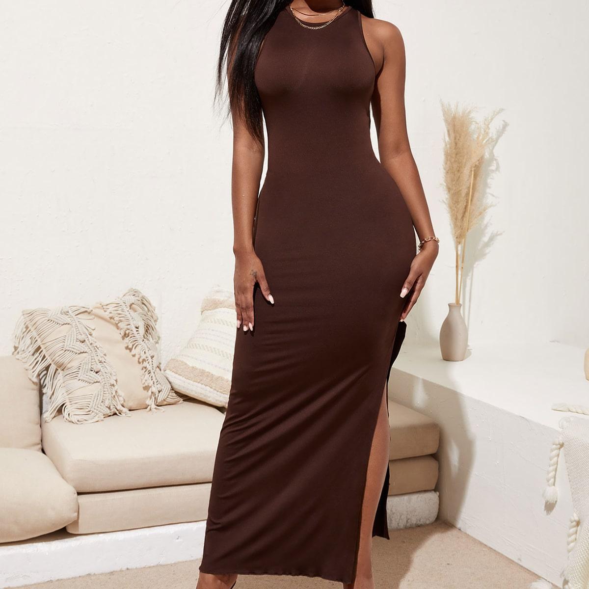 Платье с разрезом сзади и разрезом SheIn swdress44210531091
