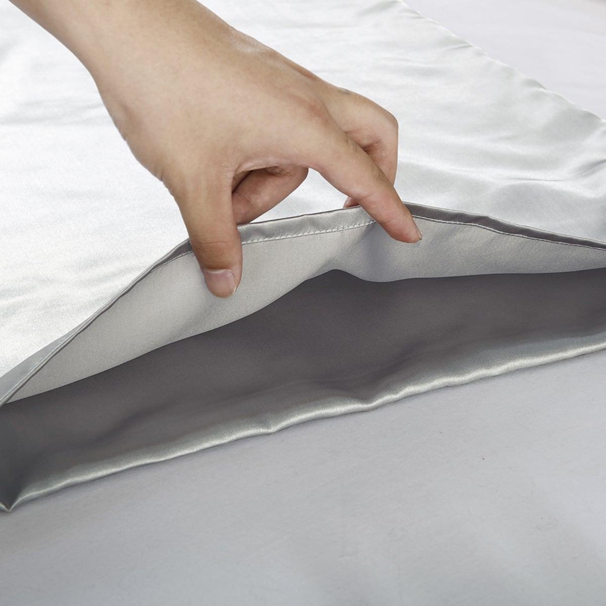 1Pair Plain Satin Pillowcase Without Filler
