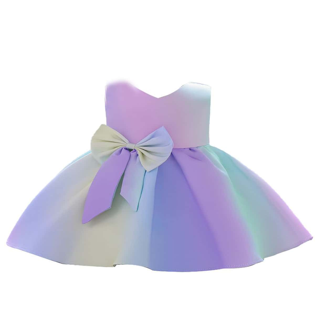 Toddler Girls Big Bow Front Party Dress