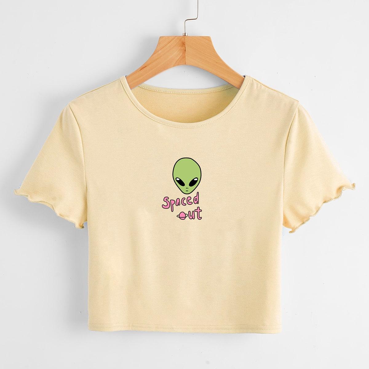 Casual Spotprent Tekst T-shirt Plooiingen