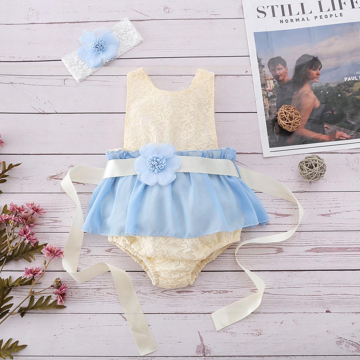 для девочек с узлом жаккардовый Составной комплект Боди Платье от SHEIN